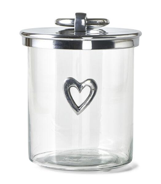 Pot de stockage en métal en forme de cœur