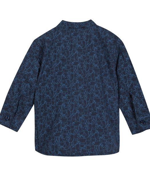 Geprinte hemd met Mao kraag