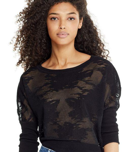 Zwarte trui ANLINA met transparant motief