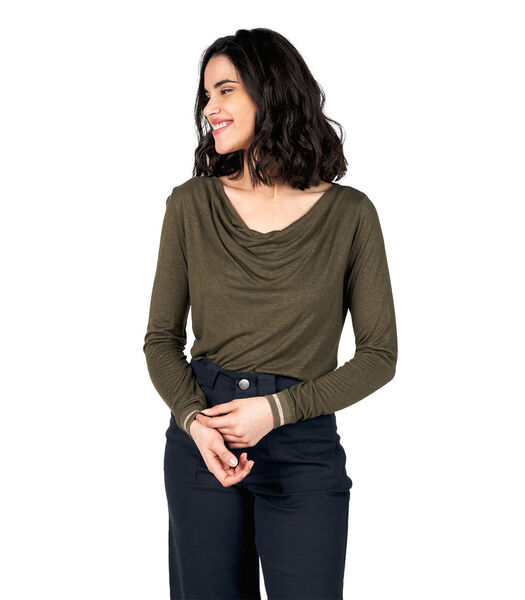 T-shirt met watervalhals en lange mouwen TAVI