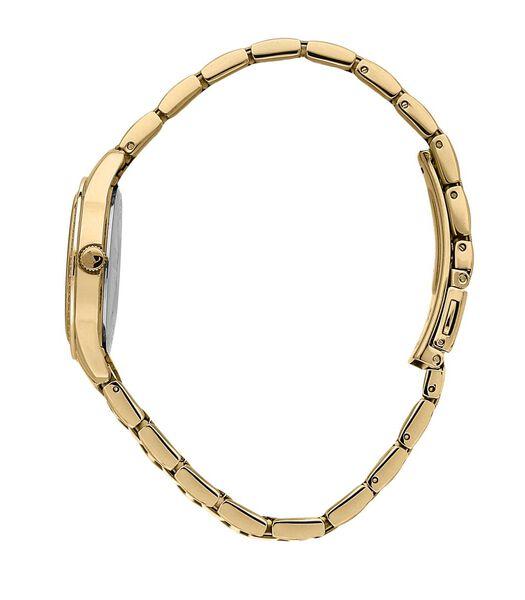 Analoog horloge in staal, goud PVD, steen T-SKY