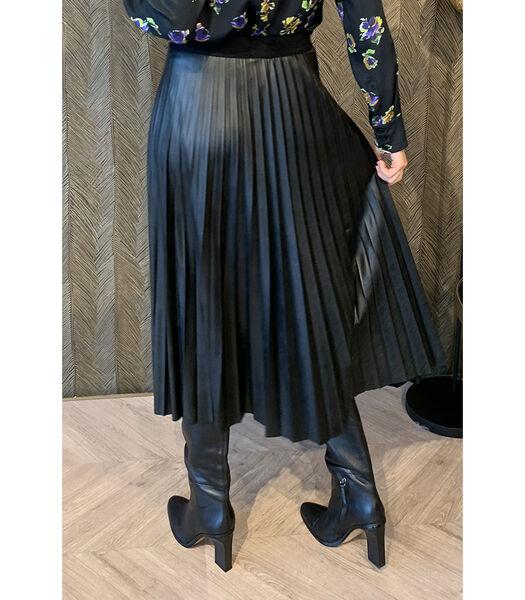 Stoere zwarte lederlook rok