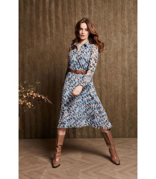 Voile jurk in lichtblauw met fijne print