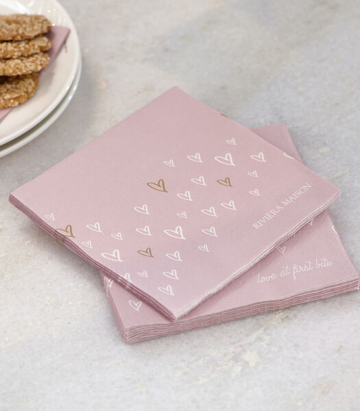 Serviette de table en papier Lovely Hearts