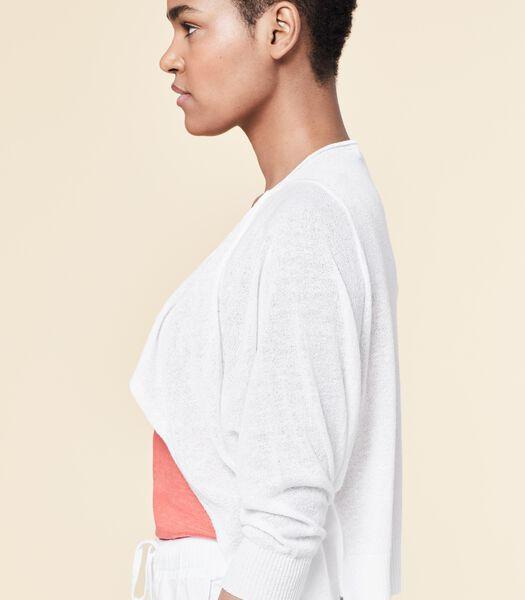 Witte korte vest VARDANE met fijne steek