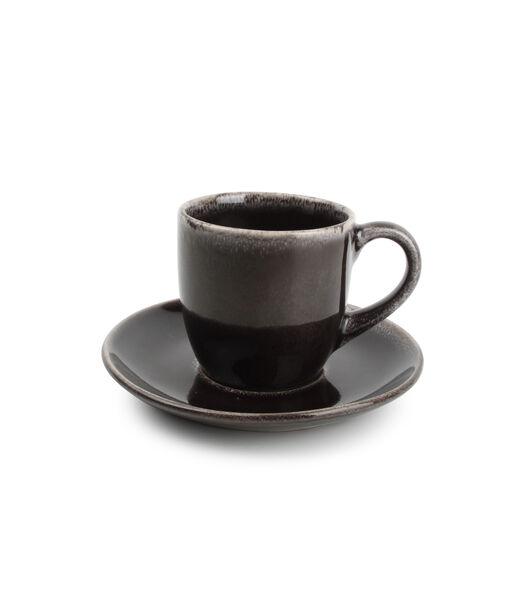 Kop 22cl en schotel zwart Artisan - (x4)