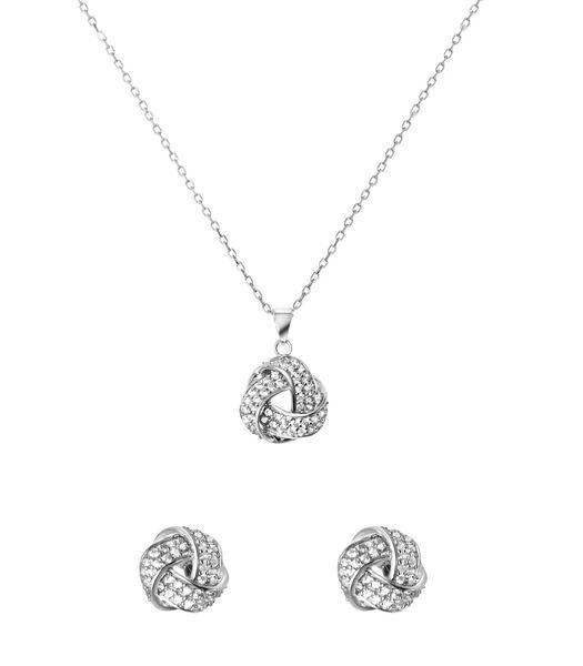 Collier et boucles d'oreilles en argent avec zirconia