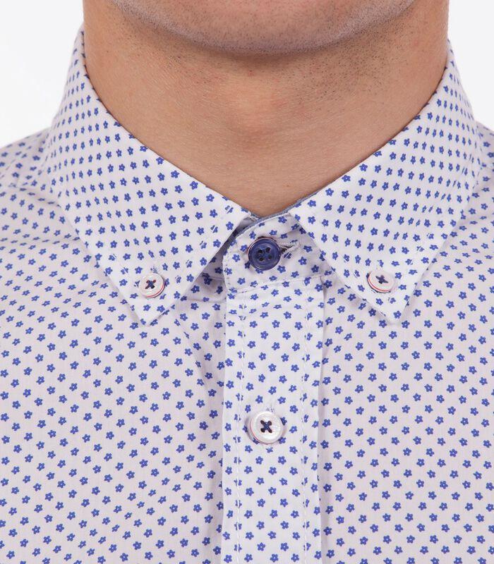 Overhemd in popeline met print wit image number 3