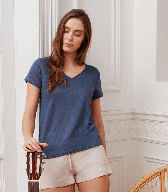 T-shirt met V-hals in Frans linnen, CLOTHILDE image number 0