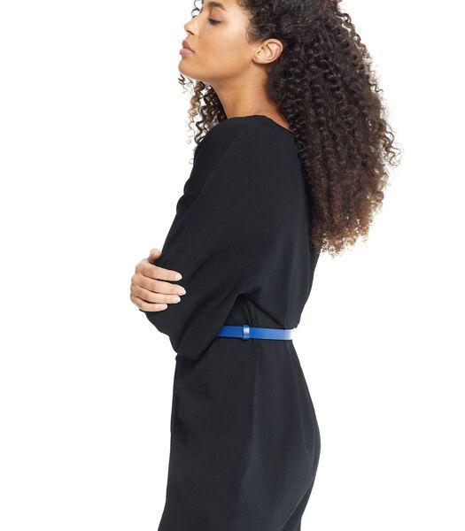 Zwarte jurk NARLUGA met knopen en V-hals voor of achter