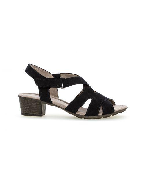 Leren sandalen met blokhak