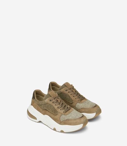 Sneakers épaisses en mélange doux de velours et laine