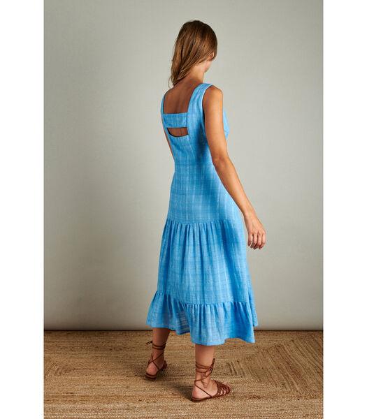 Felblauwe maxi jurk in bohemiaanse stijl