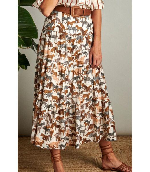 Vrouwelijke rok in een trendy safari print