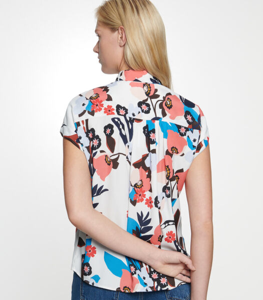 Shirtblouse Bloemen Zonder mouwen Kraag