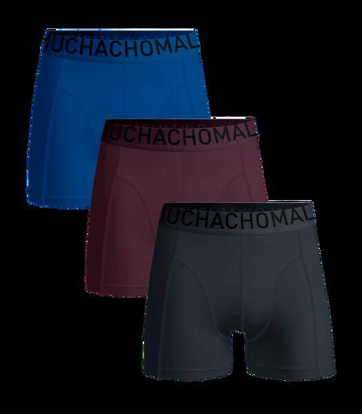 Men 3-Pack Short Solid/Solid/Solid Navy/Aubergine/Light blue L