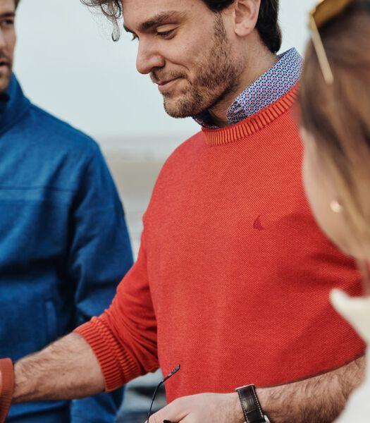 koraalrode trui in fijn katoen