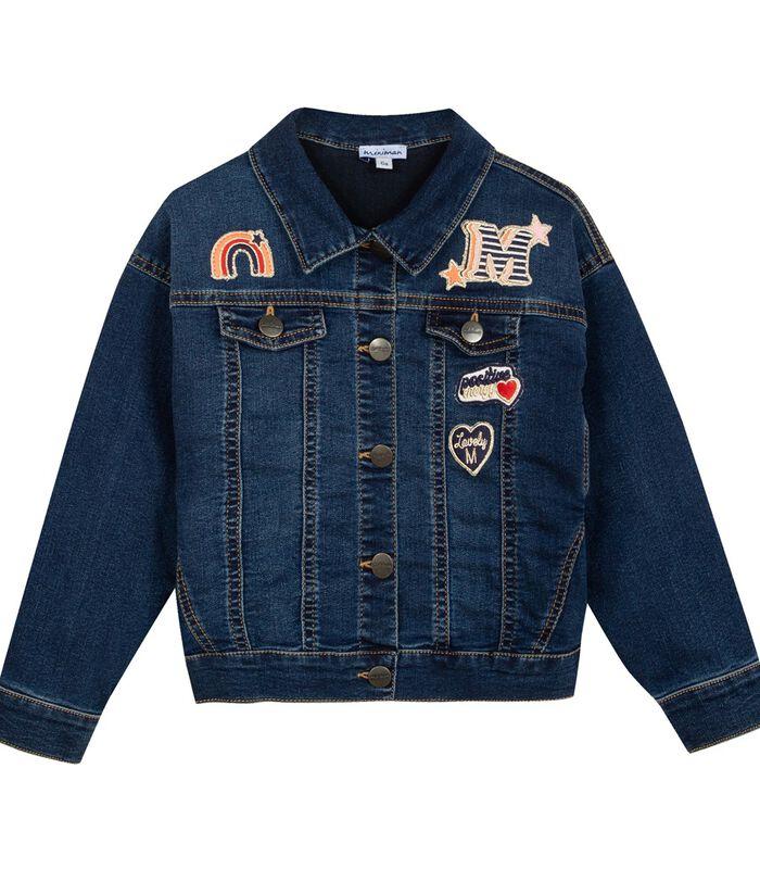 Denim jas met geborduurde badges image number 0