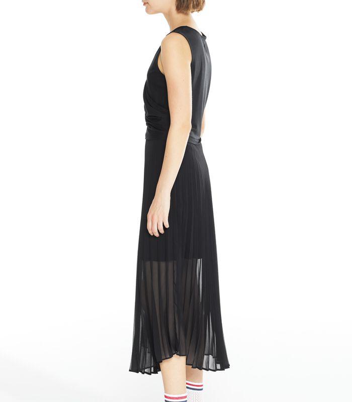Zwarte lange jurk CONCILIANT in geplooide voile image number 2