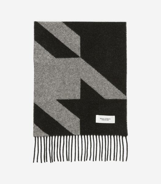 Wollen sjaal met ingeweven logo