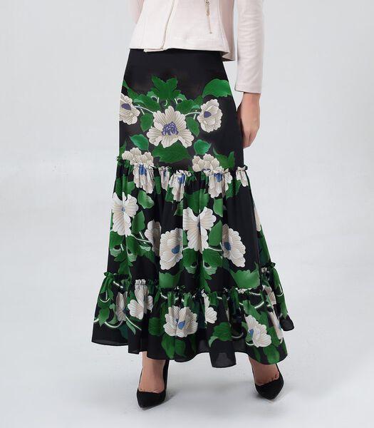 Lange rok met bloemenprint en grote volants