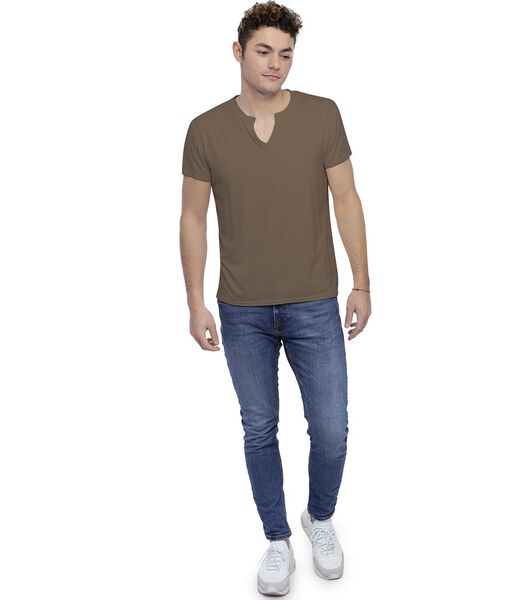 T-shirt col tunisien boutonné manches courtes PAUL
