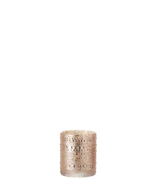 T-Lichthouder Bolletjes Glas Roze Medium