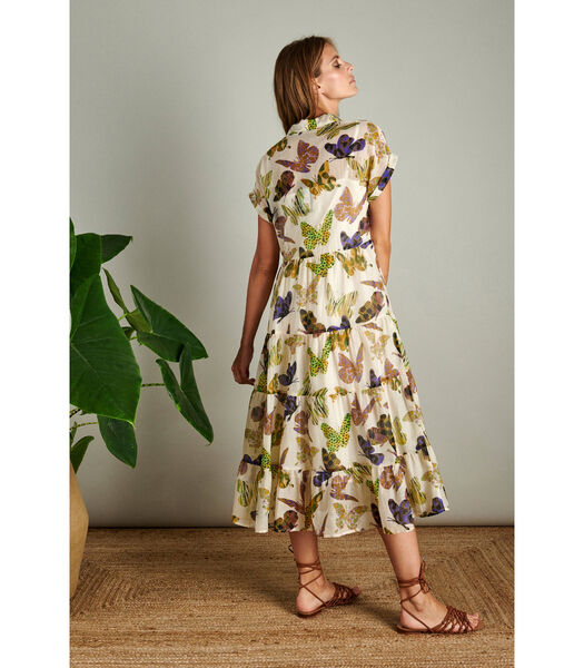 Maxi jurk in een hip dessin met vlindertjes