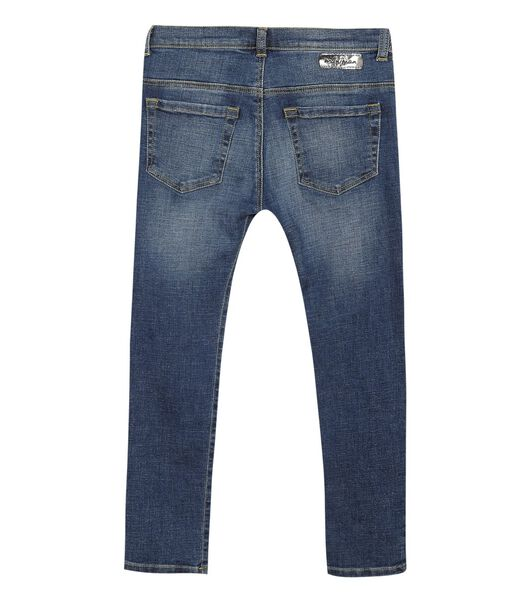 5 pocket slim jeans met badges