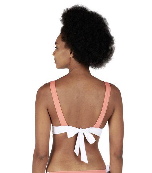 Bikinitop triangel vast effen contrasterende band MILA