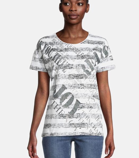 Shirt met print met sierstenen