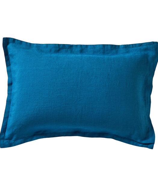 LOUXOR Bleu paon - Kussensloop linnen Stonewashed