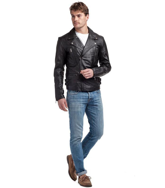 Anton jas in schapenleer biker stijl image number 3