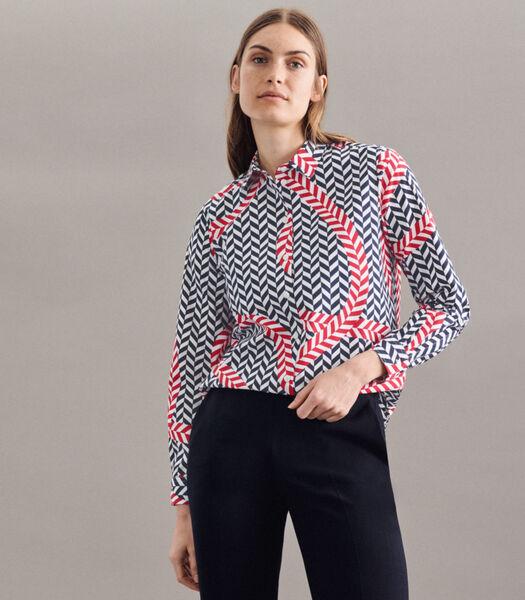 Shirtblouse Print Lange mouwen Kraag