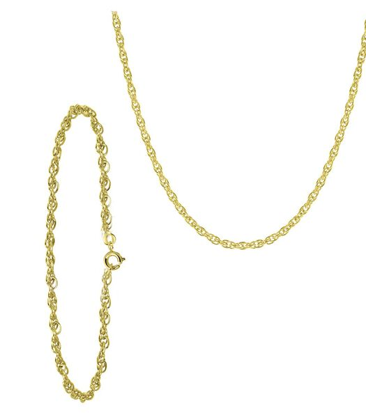Bracelet et collier en plaqué or avec cordon de liaison