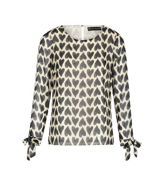 VALENTIN harten bedrukte blouse