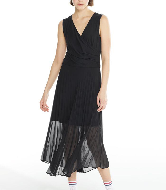 Zwarte lange jurk CONCILIANT in geplooide voile image number 1