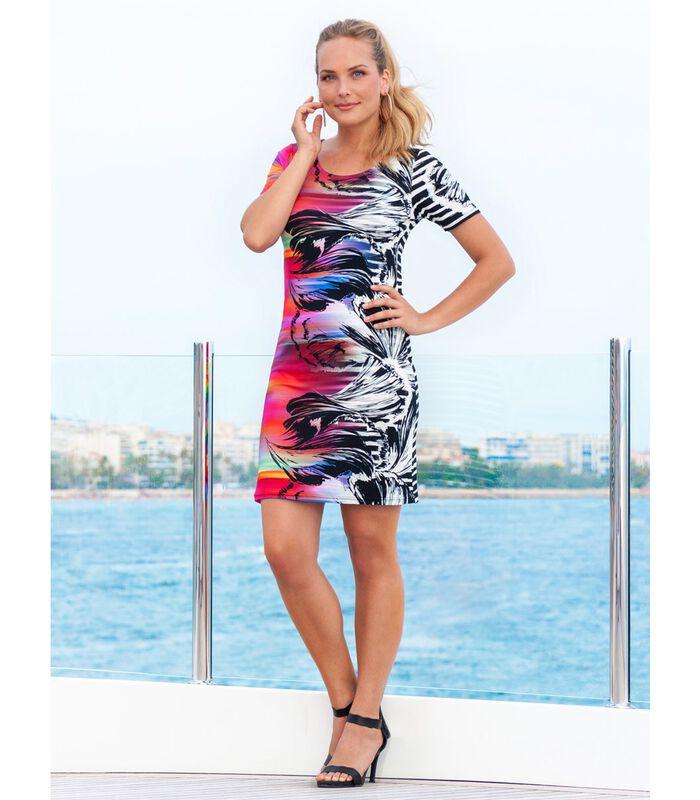Bedrukte jersey uitlopende jurk MALALA image number 1