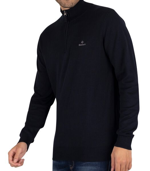 Sweatshirt van klassiek katoen met halve rits