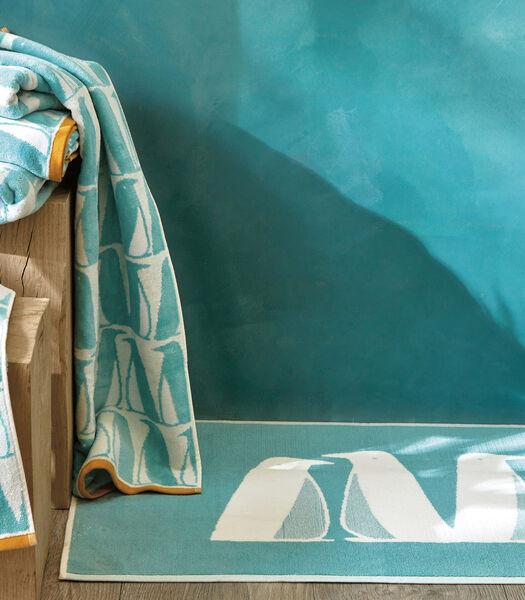 BANQUISE Turquoise - Tapis de bain coton
