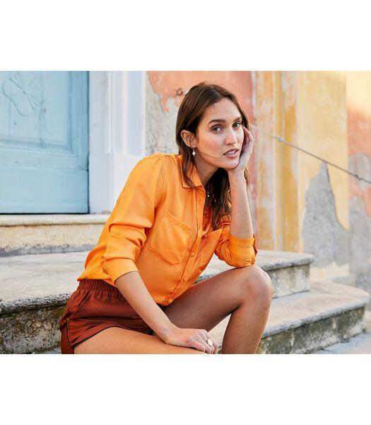 Zijden blouse met SANGUINE opdruk