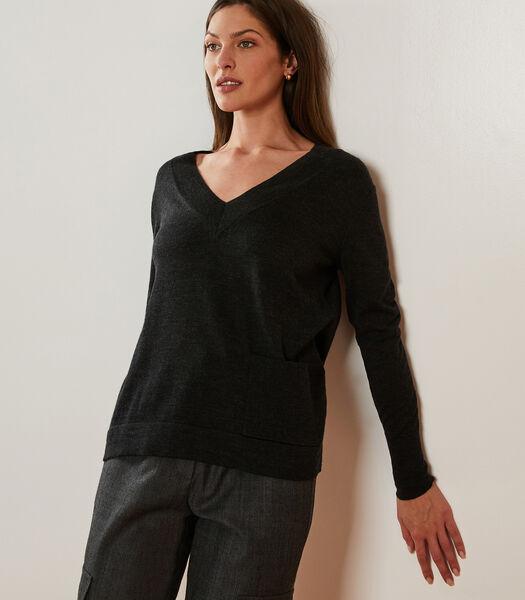 Gemêleerde wollen trui met V-hals
