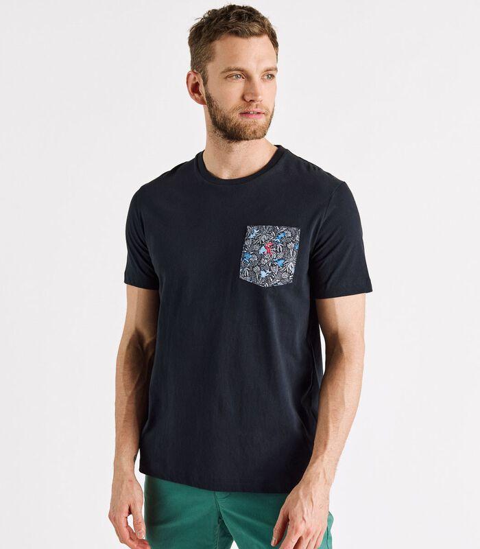 T-shirt met zak bedrukte THUNDER image number 0