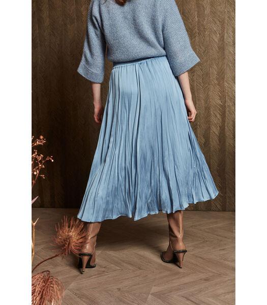 Soepelvallende lichtblauwe rok met lichte glans
