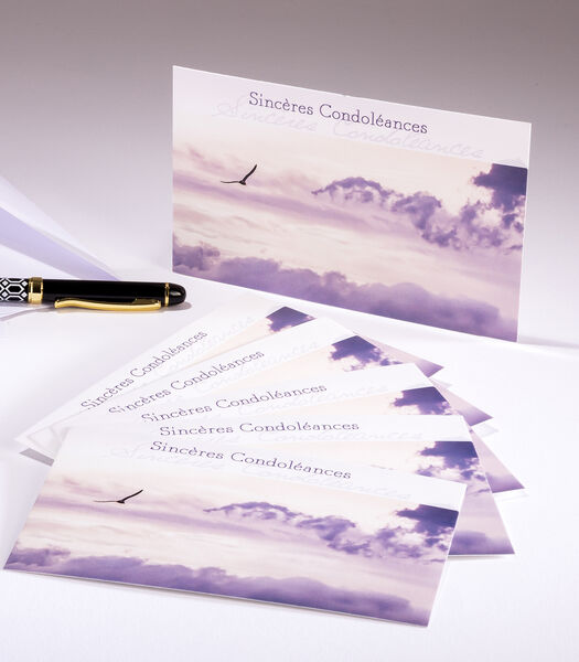 Pochettes de 6 cartes simples Condoléances ciel
