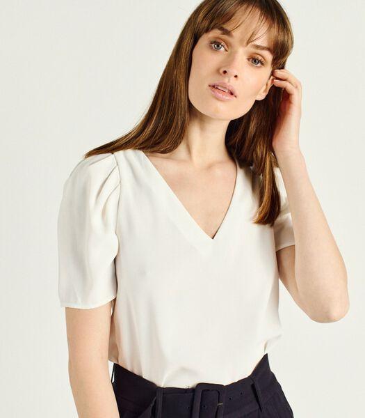 TIAGO blouse met korte mouwen en V-hals