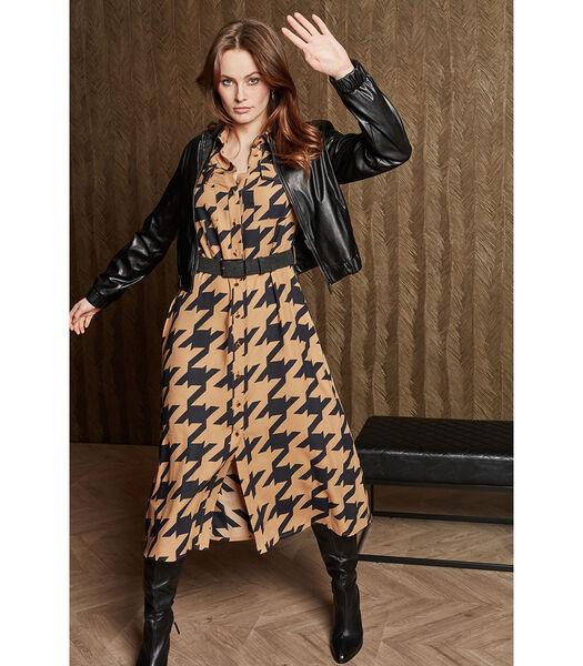 Trendy jurk met print in camel en zwart