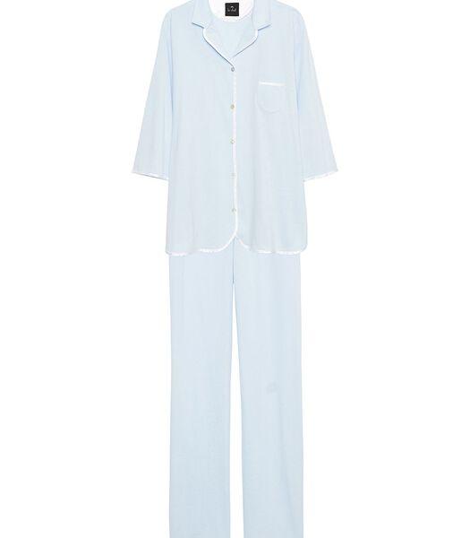 Pyjama met knopen 100% katoen ESSENTIEL E06A Blauw
