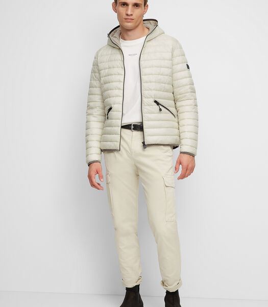 Gewatteerde jas met capuchon van waterafstotende ripstop