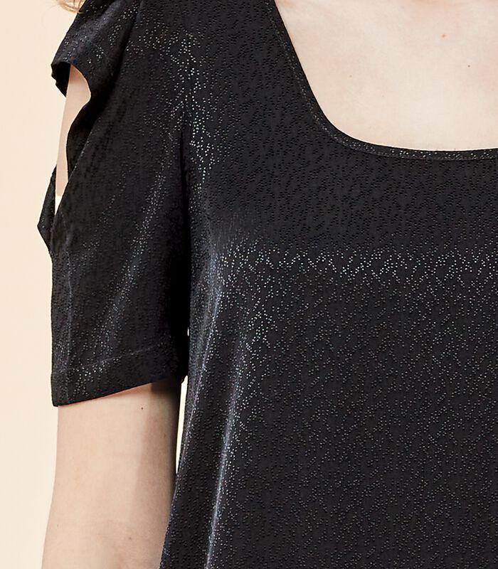 Asymmetrische zwarte jurk VIRGWOOLF in jacquard image number 1